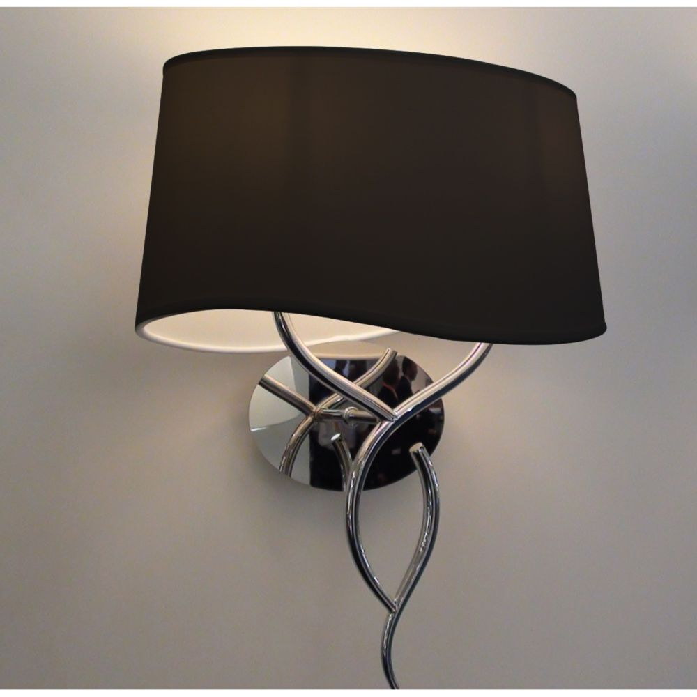 2 Lights Chrome Wallsconce with Black Linen Shade