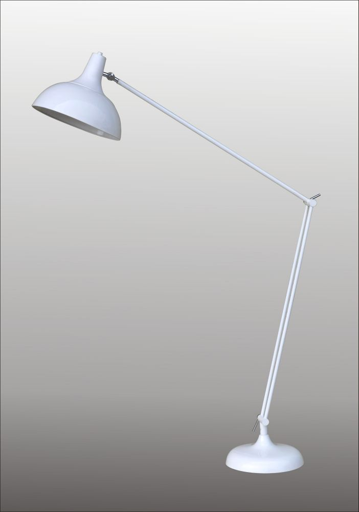Floor Lamp in White Finish and Metal Base