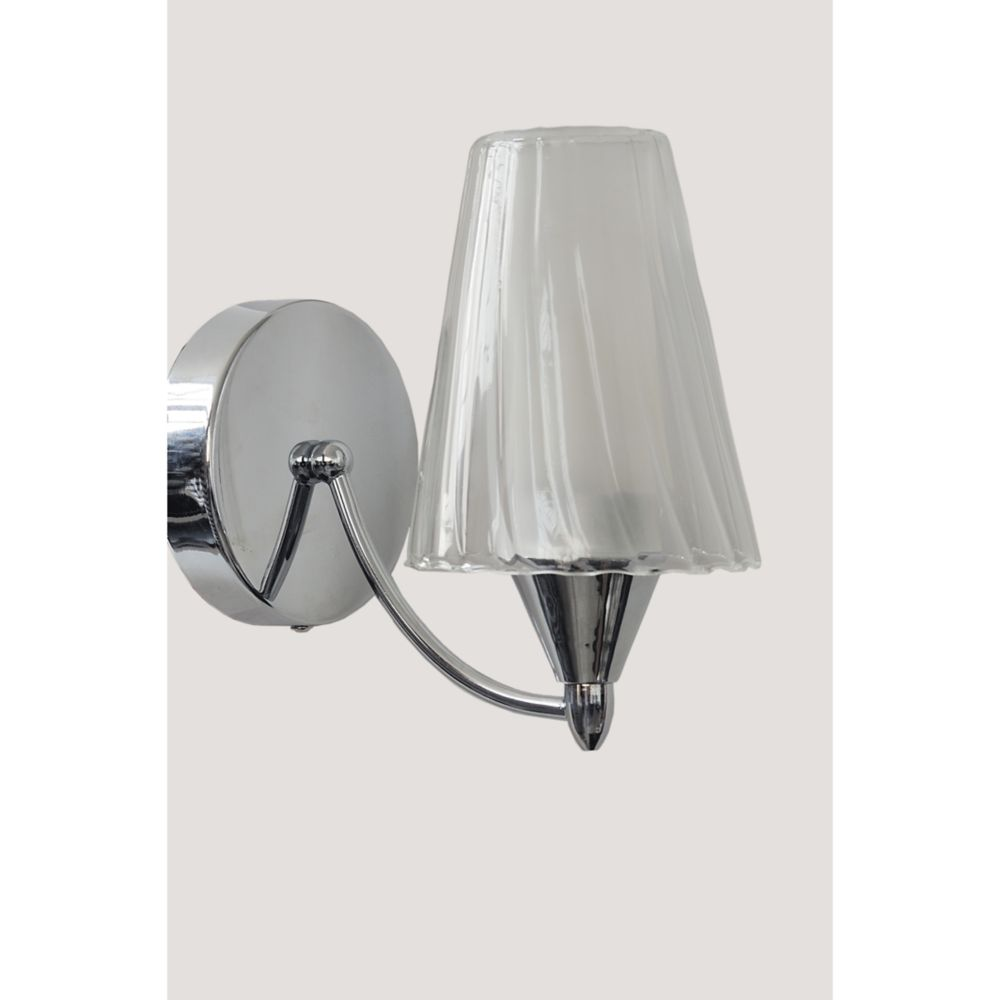 Chrome 1 Light Wallsconce Opal Glasses and Clear Swirl Glasses