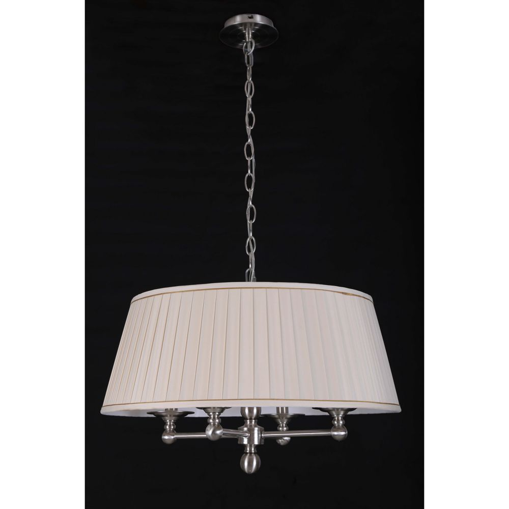 4 Light Polish Nickel Suspension with Pleated Silk Ivy Shade