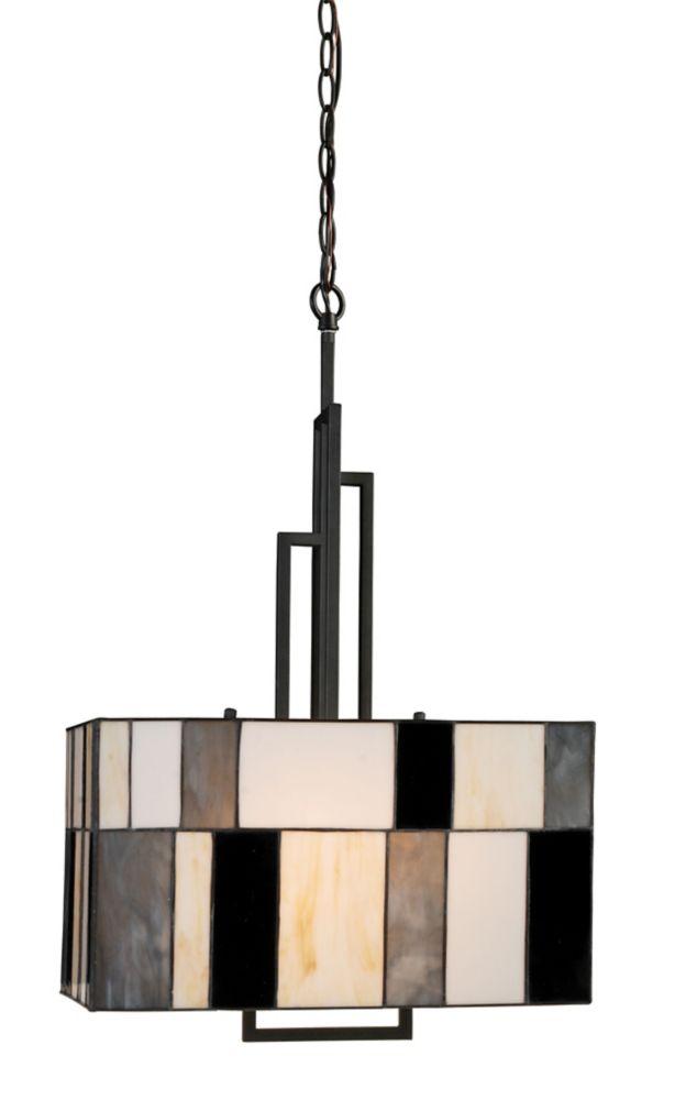 2 Light Contemporary Tiffany Glass Suspension