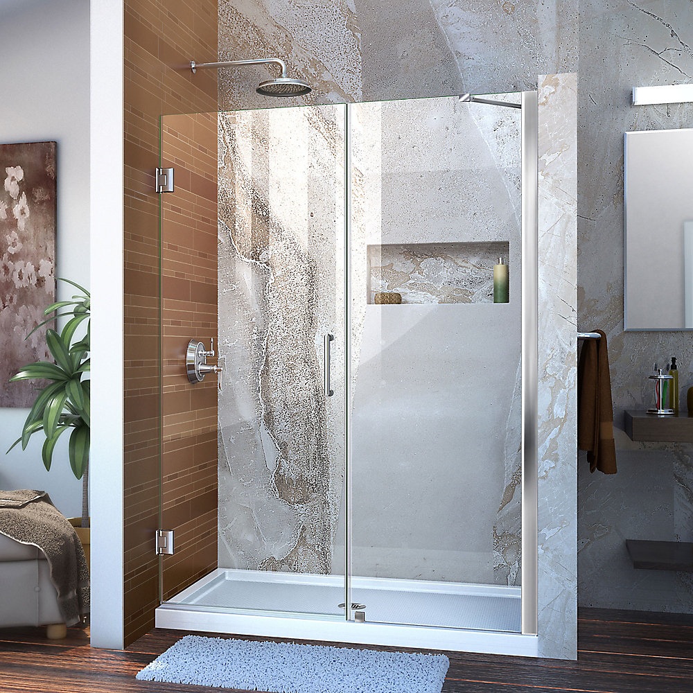 Unidoor 47 to 48-inch x 72-inch Frameless Hinged Pivot Shower Door in Chrome with Handle