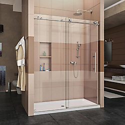 DreamLine Enigma-X 30-inch x 60-inch x 78.75-inch Frameless Sliding Shower Door in Brushed Stainless Steel with Right Drain Base