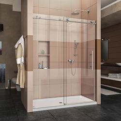 DreamLine Enigma-X 32-inch x 60-inch x 78.75-inch Sliding Shower Door in Brushed Stainless Steel with Left Drain White Acrylic Base