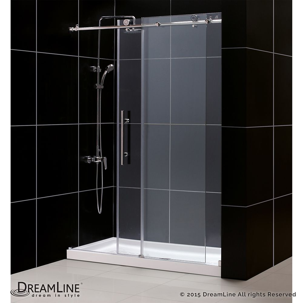 DreamLine Enigma-X 34-inch x 60-inch x 78.75-inch Sliding Shower Door in Brushed Stainless Steel with Left Drain White Acrylic Base