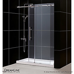 DreamLine Enigma-X 36-inch x 60-inch x 78.75-inch Frameless Sliding Shower Door in Brushed Stainless Steel with Right Drain Base