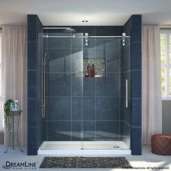 DreamLine Enigma-Z 30-inch x 60-inch x 78.75-inch Frameless Sliding Shower Door in Polished Stainless Steel and Right Drain Base