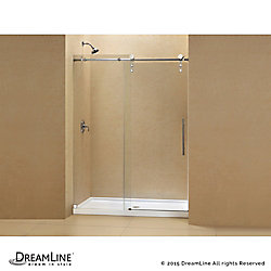DreamLine Enigma-Z 34-inch x 60-inch x 78.75-inch Frameless Sliding Shower Door in Polished Stainless Steel with Left Drain Base