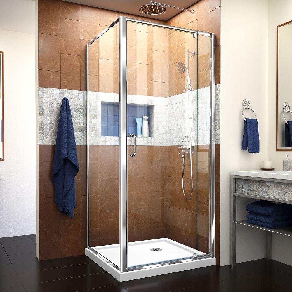 DreamLine Flex 32-inch x 32-inch x 74.75-inch Corner Framed Pivot Shower Enclosure in Chrome with White Acrylic Base