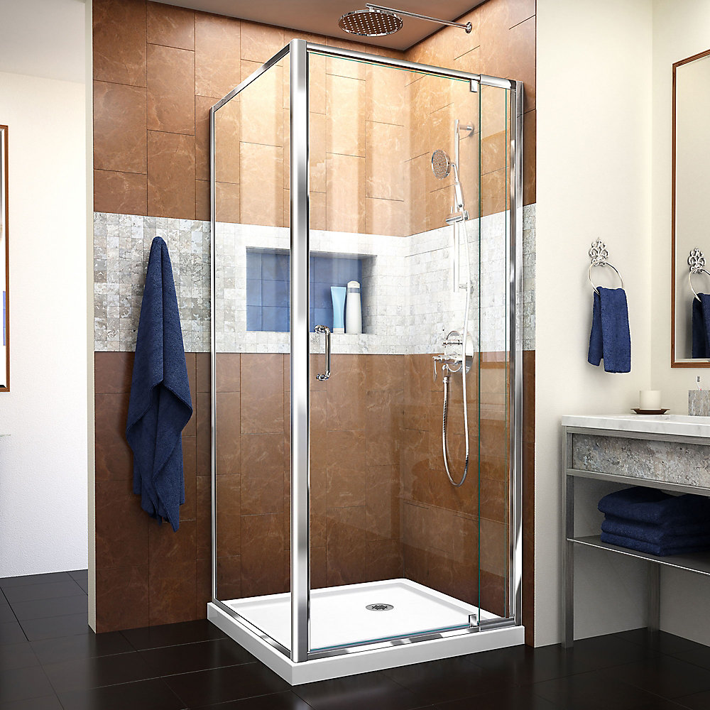 Flex 36-inch x 36-inch x 74.75-inch Corner Framed Pivot Shower Enclosure in Chrome with White Acrylic Base