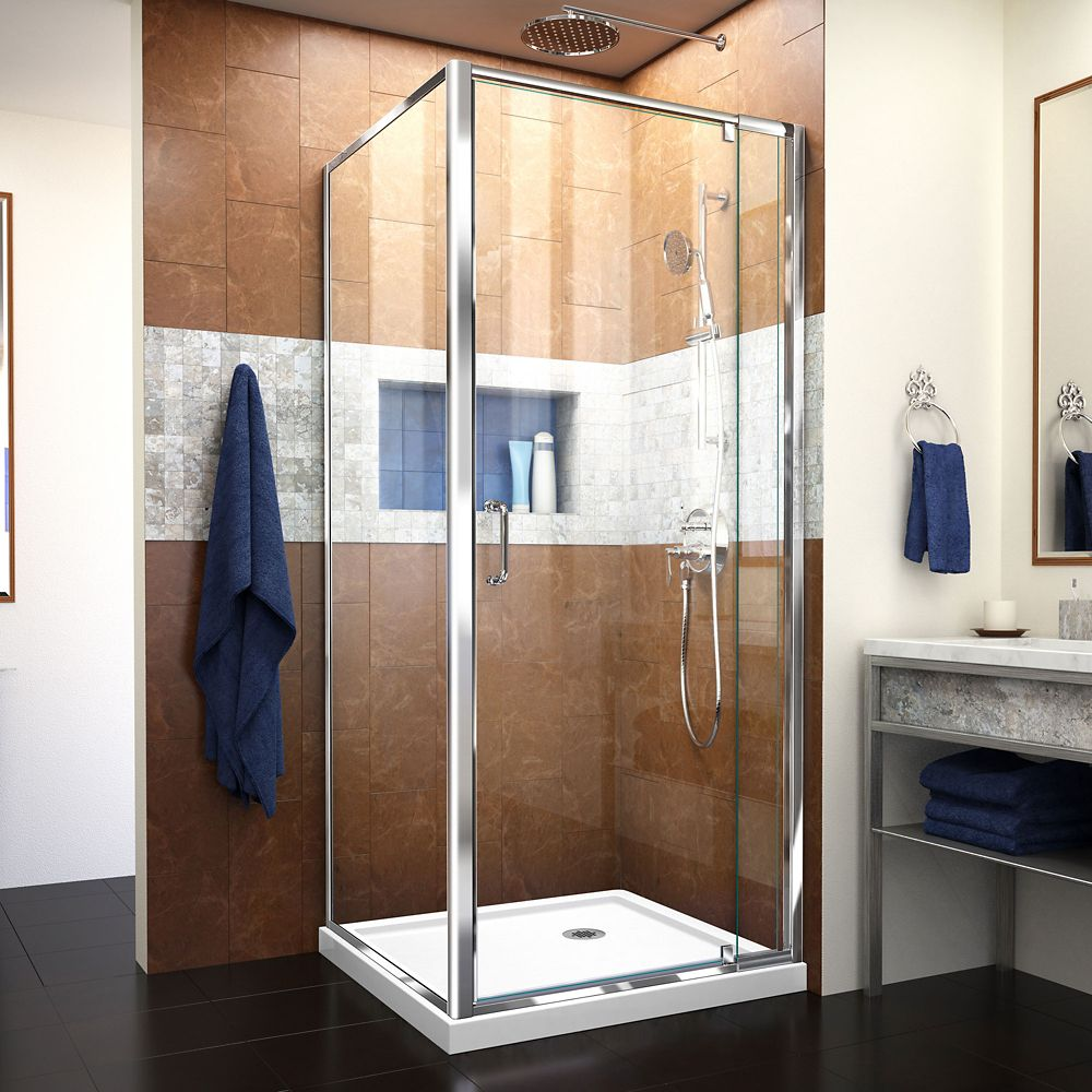 DreamLine Flex 36-inch x 36-inch x 74.75-inch Corner Framed Pivot Shower Enclosure in Chrome with White Acrylic Base