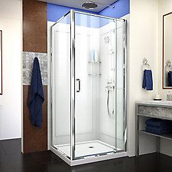 DreamLine DreamLine Flex 81 x 195 cm Porte de douche Sans cadre fini Chrome, Base et Parois arrière, Blanc