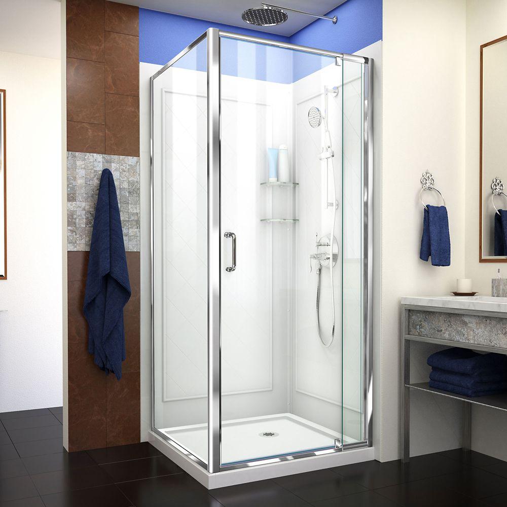 DreamLine Flex 32-inch x 32-inch x 76.75-inch Framed Corner Shower Kit in Chrome with Shower Base in White