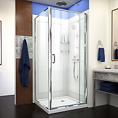 Captivating Flex 36 Inch X 36 Inch X 76.75 Inch Framed Corner Shower Kit