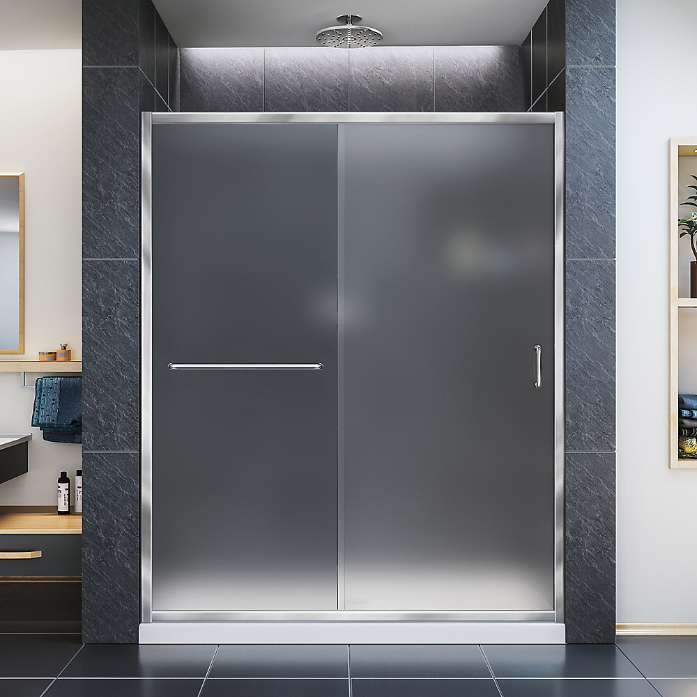 Infinity-Z 34-inch x 60-inch x 74.75-inch Framed Sliding Shower Door in Chrome with Center Drain White Acrylic Base