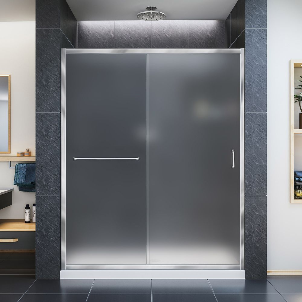 DreamLine Infinity-Z 34-inch x 60-inch x 74.75-inch Framed Sliding Shower Door in Chrome with Center Drain White Acrylic Base