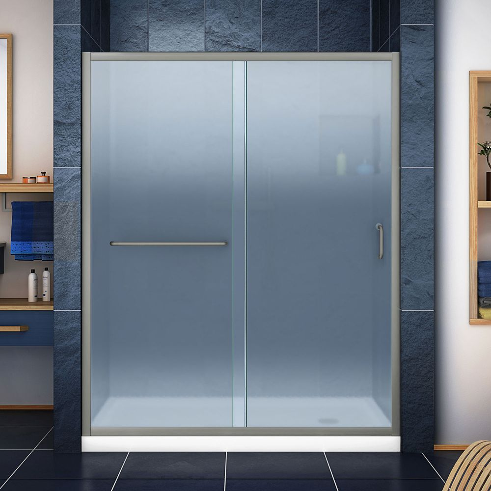 DreamLine Infinity-Z 34-inch x 60-inch x 74.75-inch Framed Sliding Shower Door in Brushed Nickel with Right Drain White Acrylic Base