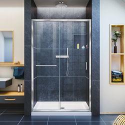 DreamLine Infinity-Z 36-inch x 48-inch x 74.75-inch Framed Sliding Shower Door in Chrome with Center Drain White Acrylic Base