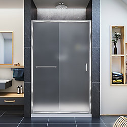 DreamLine Infinity-Z 36-inch x 48-inch x 74.75-inch Framed Sliding Shower Door in Chrome with Center Drain White Acrylic Base