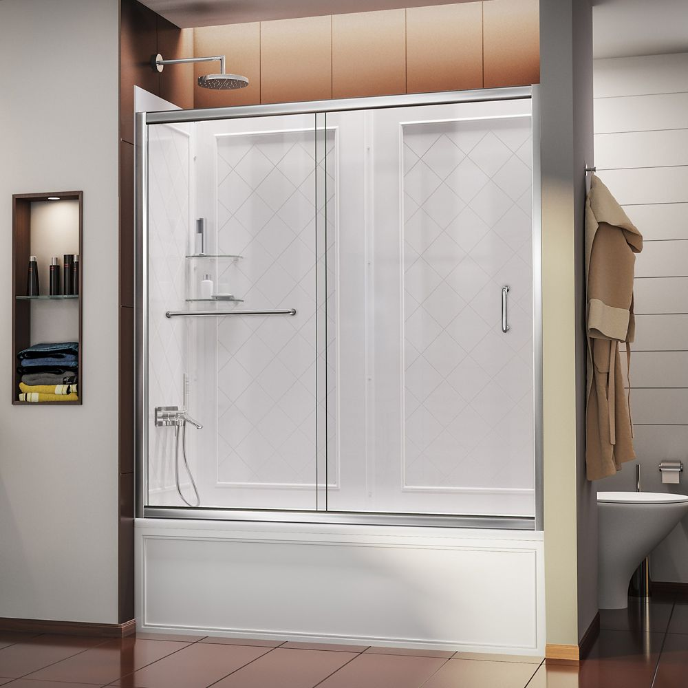 DreamLine Infinity-Z 60-inch x 60-inch Framed Sliding Tub/Shower Door in Chrome and Back wall with Glass Shelves