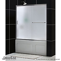 Infinity-Z 56-inch - 60-inch x 60-inch Framed Sliding Tub Door in Chrome and Back wall with Glass Shelves