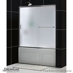 DreamLine Infinity-Z 60-inch x 60-inch Framed Sliding Tub/Shower Door in Brushed Nickel and Back wall with Glass Shelves