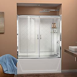 DreamLine DreamLine Visions 152 x 152 cm Porte de baignoire Sans cadre Chrome et Parois arrière Blanc