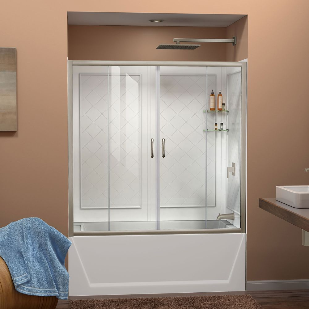 DreamLine Visions 60-inch x 60-inch Framed Sliding Tub/Shower Door in Brushed Nickel and Back wall with Glass Shelves