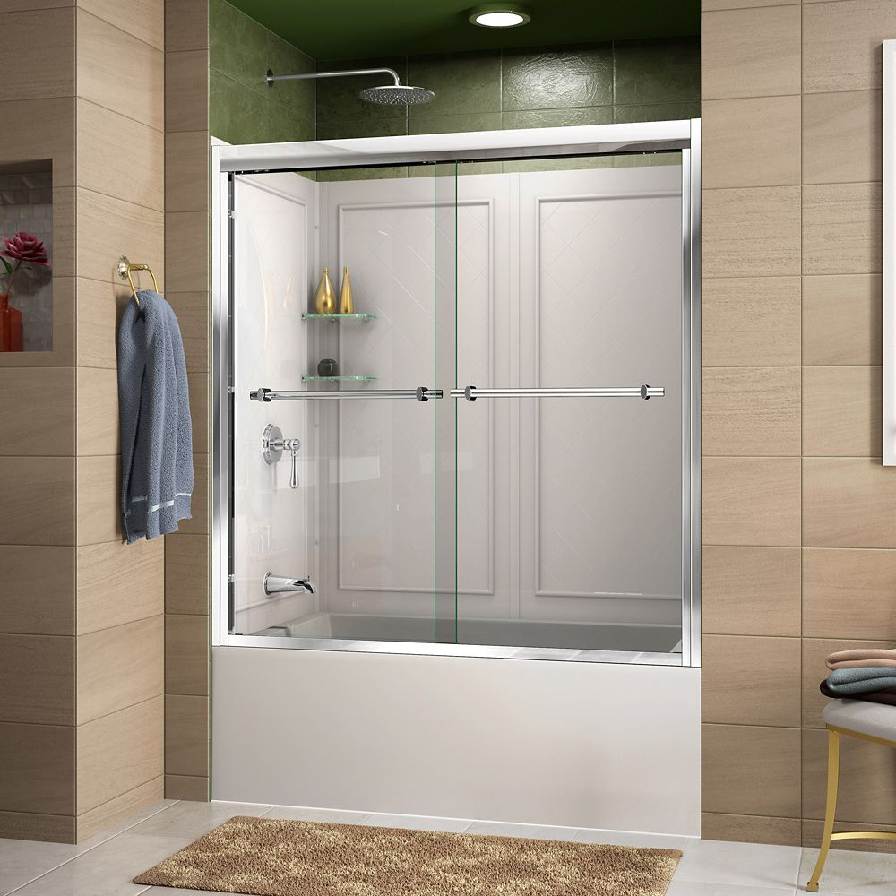 DreamLine Duet 60-inch x 60-inch Sliding Tub/Shower Door in Chrome and Back wall with Glass Shelves