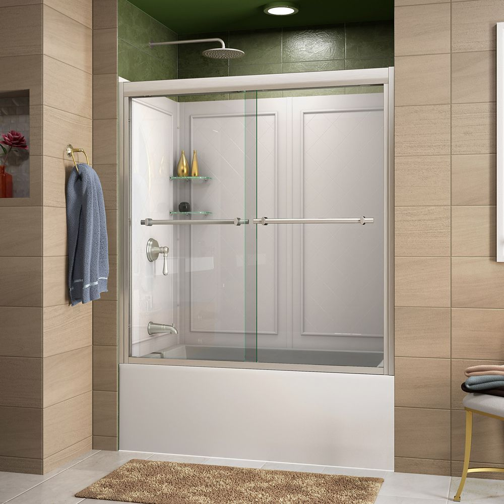 DreamLine Duet 60-inch x 60-inch Sliding Bypass Tub/Shower Door in Brushed Nickel and Back wall with Glass Shelves