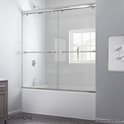 DreamLine Charisma 56-inch-60-inch x 60-inch Semi-Frameless Sliding Bypass Tub and Shower Door in Chrome and Back wall with Glass Shelves