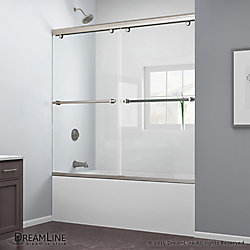 DreamLine Charisma 56-inch - 60-inch x 60-inch Sliding Tub and Shower Door in Brushed Nickel and Backwall with Glass Shelves