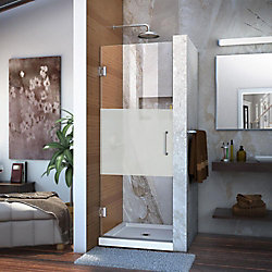 DreamLine Unidoor 28-inch x 72-inch Frameless Hinged Pivot Shower Door in Chrome with Handle