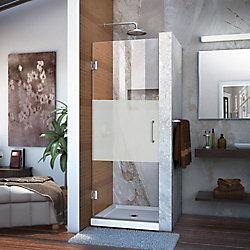 DreamLine Unidoor 29-inch x 72-inch Frameless Hinged Pivot Shower Door in Chrome with Handle