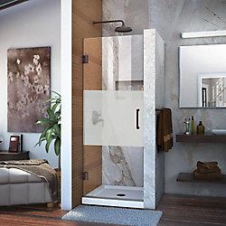DreamLine Unidoor 30-inch x 72-inch Frameless Hinged Pivot Shower Door in Oil Rubbed Bronze with Handle
