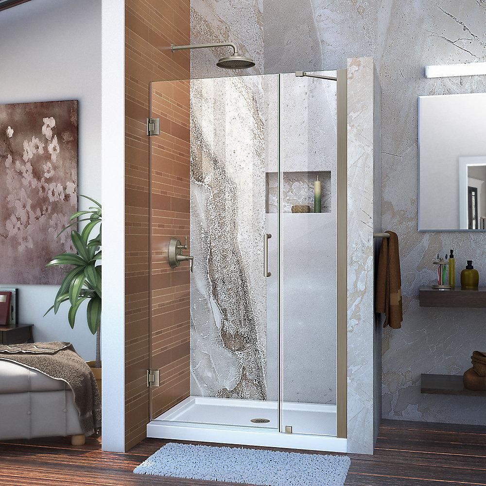 Unidoor 35 to 36-inch x 72-inch Frameless Hinged Pivot Shower Door in Brushed Nickel with Handle
