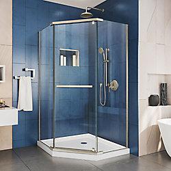 DreamLine Prism 38-1/8-inch x 38-1/8-inch x 72-inch Pivot Shower Enclosure in Brushed Nickel