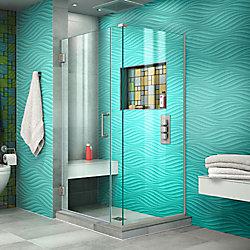 Unidoor Plus 30-3/8-inch x 29-inch x 72-inch Semi-Frameless Hinged Shower Door Enclosure with Hardware in Brushed Nickel