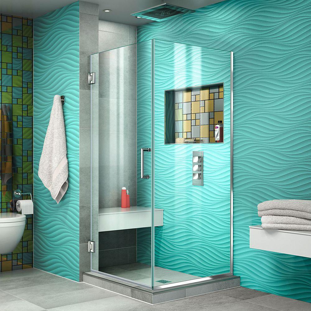 DreamLine Unidoor Plus 30-3/8-inch x 72-inch Semi-Frameless Corner Pivot Shower Door in Chrome