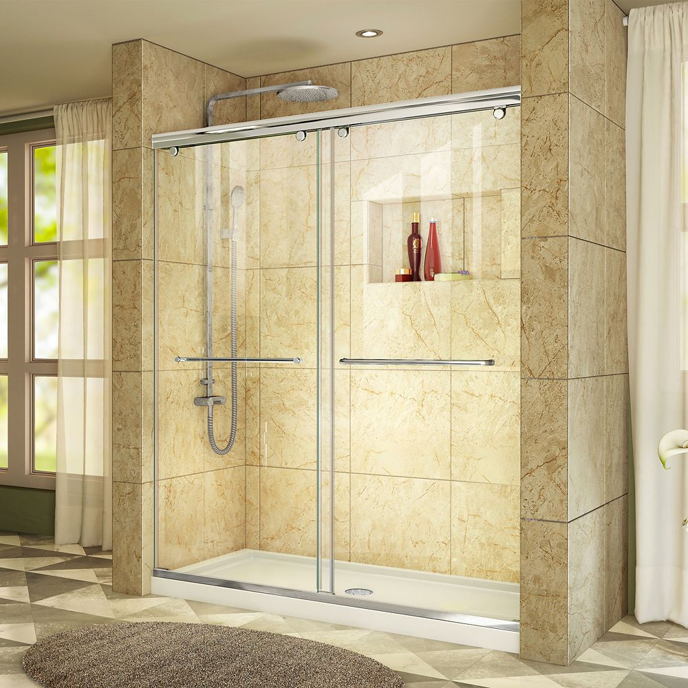 DreamLine Charisma 34-inch x 60-inch x 78.75-inch Semi-Frameless Sliding Shower Door in Chrome with Center Drain White Acrylic Base