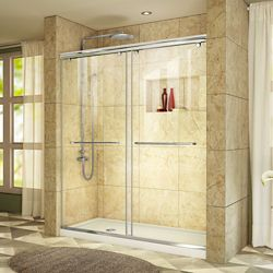 DreamLine Charisma 34-inch x 60-inch x 78.75-inch Semi-Frameless Sliding Shower Door in Chrome with Left Drain White Acrylic Base