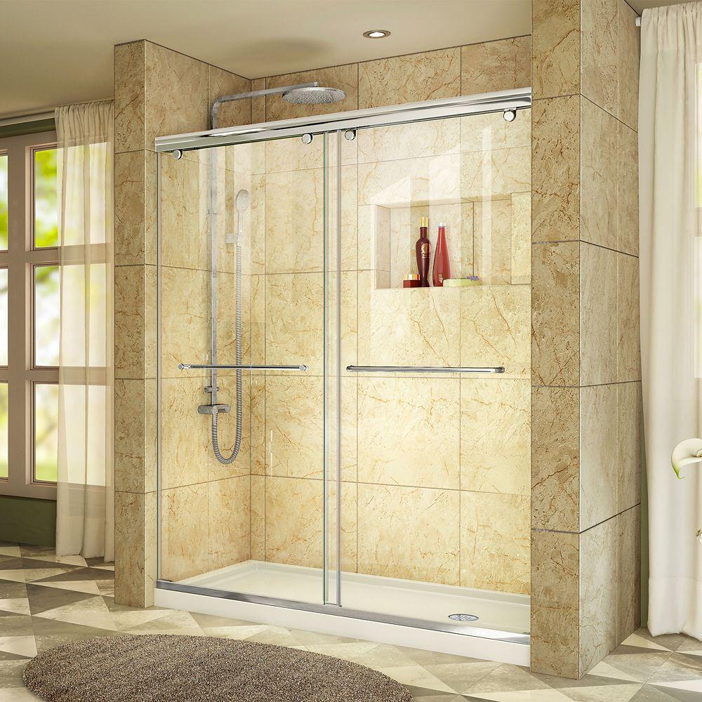 DreamLine Charisma 34-inch x 60-inch x 78.75-inch Semi-Frameless Sliding Shower Door in Chrome and Right Drain White Acrylic Base