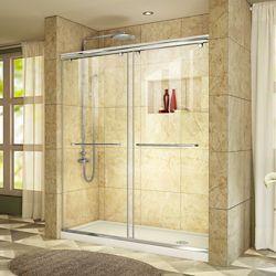 DreamLine Charisma 36-inch x 60-inch x 78.75-inch Semi-Frameless Sliding Shower Door in Chrome and Right Drain White Acrylic Base