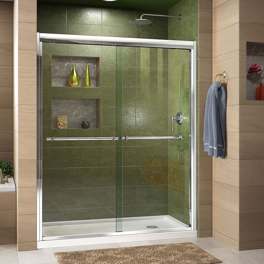 DreamLine Duet 30-inch D x 60-inch W x 74.75-inch H Framed Sliding Shower Door in Chrome with Right Drain White Acrylic Base