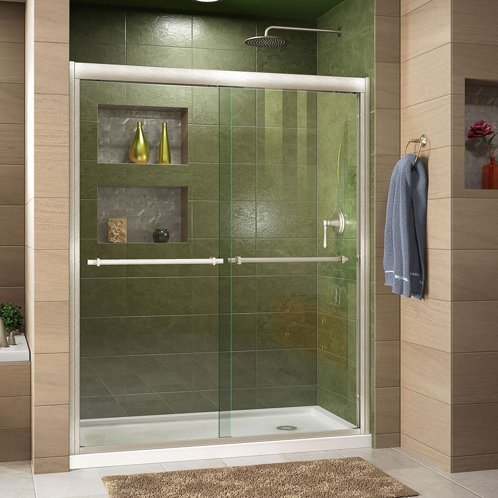 DreamLine Duet 30-inch D x 60-inch W x 74.75-inch H Framed Sliding Shower Door in Brushed Nickel with Right Drain White Acrylic Base