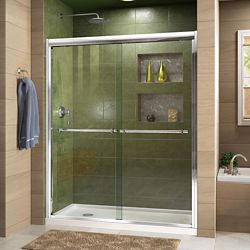 DreamLine Duet 32-inch D x 60-inch W x 74.75-inch H Framed Sliding Shower Door in Chrome with Left Drain White Acrylic Base