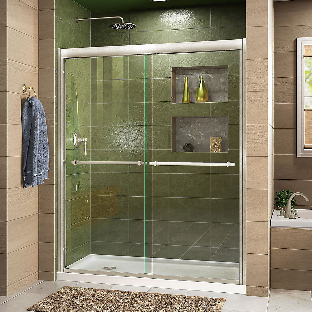 Duet 32-inch D x 60-inch W x 74.75-inch H Framed Sliding Shower Door in Brushed Nickel with Left Drain White Acrylic Base
