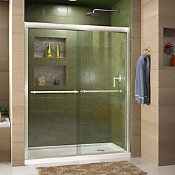 DreamLine Duet 32-inch D x 60-inch W x 74.75-inch H Framed Sliding Shower Door in Brushed Nickel with Right Drain White Acrylic Base