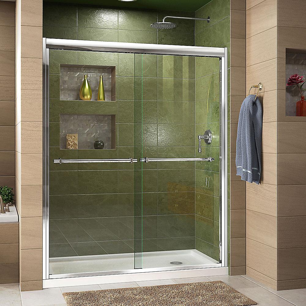 DreamLine Duet 152 x 190 cm Porte de douche Sans cadre fini Chrome et Base avec drain à droite