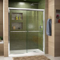 DreamLine Duet 36-inch D x 60-inch W x 74.75-inch H Framed Sliding Shower Door in Chrome with Right Drain White Acrylic Base
